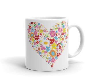 Colorful heart mug - gift for women,gift for her,unique mugs for tea,unique coffee mug,unique mug,custom coffee mug,custom coffee mugs