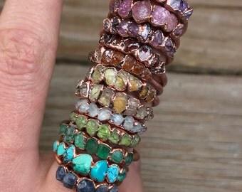 Raw birthstone ring / Birthstone stacking ring / Rough stone rings / Custom birthstone ring / All birthstones / Gemstone stacking rings