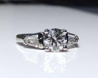 Estate Platinum 1.93 CTW Diamond Three Stone Engagement Ring 8 Grams Size 5
