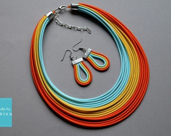 Set COLORIKA - textile necklace and earrings