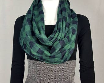 Green& black plaid infinity flannel scarf