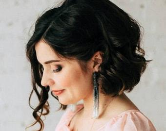 Tassel earrings, Oscar de la Renta tassel earrings, beaded tassel earrings, Oscar de la Renta earrings, beaded tassel, black tassel earrings