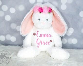 Baby Girls Personalized Bunny Plush, Bunny Toy, Bunny Stuffed Animal, Flower Girl Gift, First Birthday Gift, Newborn Gift