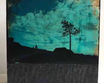 Photo transfer, acrylic painting