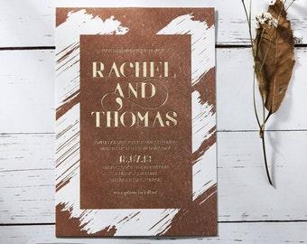 Rustic Foil Wedding Invitation, Thick Brush Stroke Design 116091