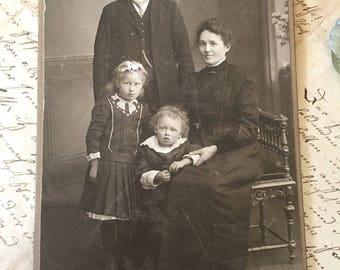 CdV Antique Cabinet Card Family Portrait Photo Vintage Photograph Paper Ephemera Collectible Photo Card Card de Visite