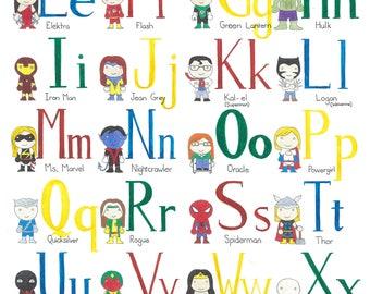 Superhero Alphabet- Print