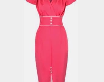 Hot pink button detail 1940's 1950's vintage retro pin up wiggle pencil dress, size 14