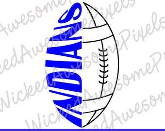 Indians Football svg, School Team svg, Mascot svg, Indians Cut File, School Sport svg, Indians Iron On, Digital Download, EPS, PNG, DXF