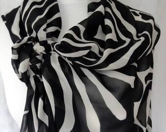 Zebra print scarf, Zebra scarf, Lightweight scarf, Fashion scarf, Shawl, Sarong