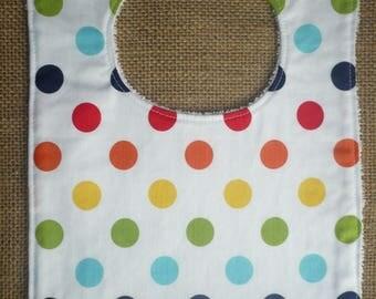 Handmade Toddler Food Bib - Large Spots Multi