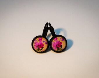 Cabochon earrings, Black, Klappbrisur