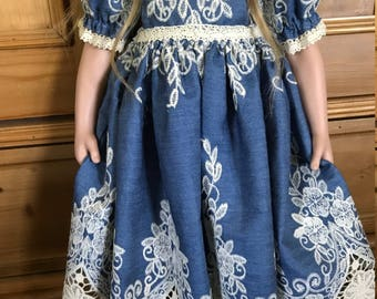 """Denim lace edged skirt embroidered cotton cluny doll dress 25"""" custom design"""