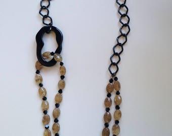 Gold Rhutilated  Quartz and Onyx Necklace