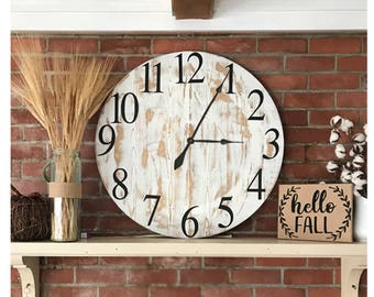 large very distressed farmhouse clock stained wwhite rustic home decor farmhouse