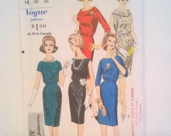 "Vogue Pattern 5306 - Vintage 1960s Dress with Straight Skirt - Size 16 (Vintage Sizing), Bust 36"" - Uncut Sewing Pattern"