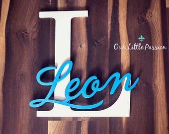 Capital Letter with Name, Custom Nursery Decor, Personalized name on Large Letter, Baby Nursery Wall Hanging, Baby Name Sign, Wood Letters