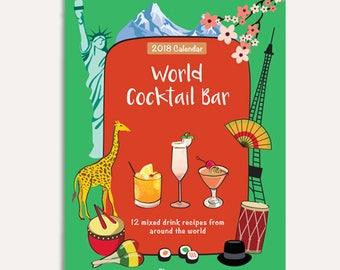 35%  OFF - 2018 Calendar-Wall Calendar-Monthly calendar-2018 Wall Calendar -Christmas gift -World Cocktail calendar -Cocktail recipes