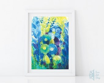 Abstract Flowers Art Print Acrylic Painting Abstract Floral Art Abstract Artwork Wall Art Gift for Women Gift for Her Home Decor Blue Green