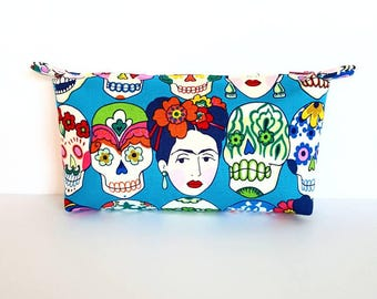 Frida and Skulls Bag, Frida Kahlo Cosmetic Bag, Frida Kahlo Zipper Pouch, Frida Pencil Case, Gift, Birthday, Frida Craft Storage, Multi Use