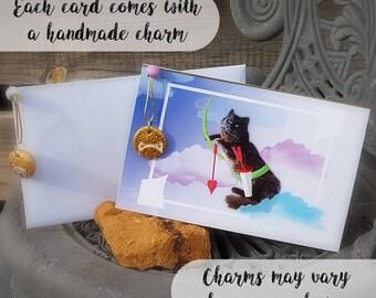 Cat Cupid - Illustrated Print - Greetings Card