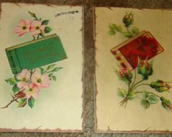 2 Vintage Postcards (Books & Flowers)