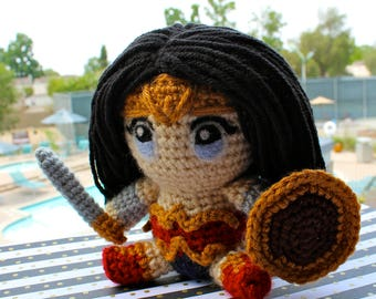 Wonder Woman Amigurumi, Wonder Woman Crochet, Wonder Woman Plushie, Diana Plushie