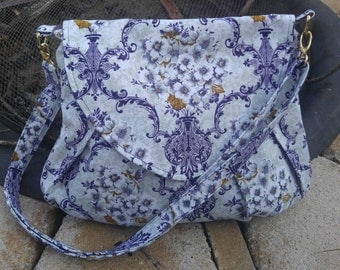Purple Floral Shelby, Pleated, Large Crossbody Bag