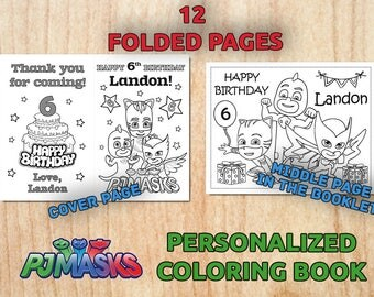 Personalized PJ MASK Party Coloring Book / Digital / Printable / Birthday party / PDF