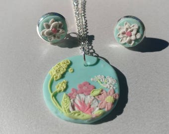 Unique Flower Earring and Pendant Set, Clay Applique Jewelry, Studs and Necklace set, Gift for Her