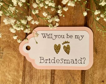 Will you be my bridesmaid? FREE SHIPPING 6 Tag Set with Silver, Gold or Rose Gold Glitter Hearts; Maid of Honor, Flower Girl