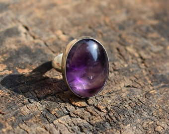 amethyst ring,oval shape ring,natural dark amethyst ring,amethyst gemstone ring,925 silver ring