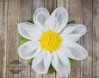 Daisy Mesh Wreath, Mesh Flower Wreath, Deco Mesh Flower Wreath, Spring Wreath, Summer Wreath, Front Door Wreath, Flower Wreath