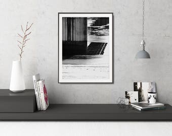 Modern Black And White Photo Poster, Abstract Black And White Art Print, Modern Industrial Decor, Large Geometric Poster, Large Photo Poster