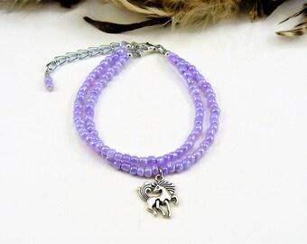 Multi Strand Seed Bead Bracelet, Beaded Bracelet, Multistrand Bracelet, Beaded Friendship Bracelet, Purple Bracelet, Seed Bead Jewelry, Boho