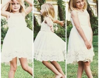IVORY Flower Girl Dress, Girl Lace Dress, Rustic Flower Girl, Vintage Flower Girl, Boho Flower Girl, Ivory Flower Girl Dress, Flower Girl