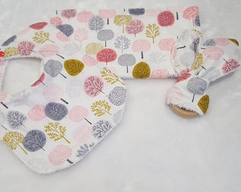Baby Gift Set- Bib - Baby Girl Bib - Forest Gift Set- Bib - Teething Ring - Burp Cloth