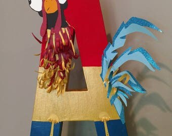 Letter A, Painted Letter, Hei Hei, Moana's Bird, Rooster