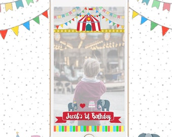 Circus Birthday Geofilter, Snapchat Geofilter Birthday, Circus themed Snapchat FIlter, Personalized Geofilters, Custom Birthday Filter
