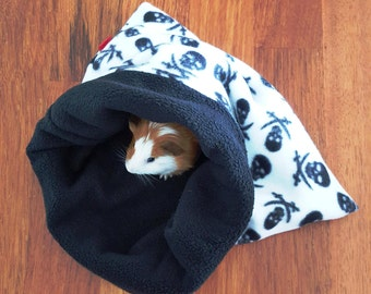 Guinea pig fleece pet bed - small animal bedding - pirate skull and crossbones petbed - black and white skull - small pet bed - sleeping bag
