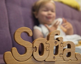 Personalized wooden name puzzle, newborn, baby, kids gift, girl birthday decor , wood letters, toddler toy, Montessori material, custom word