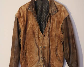 Suede Jacket Leather Camel Vintage 90s Western Look 100% Genuine Oversize Men Women Unisex Outerwear / Oversize / Extra Large size