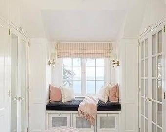 Designer Bench Cushion Cover Black Velvet Wt Matching Piping Zipper Indoor  (Window, Mudroom,