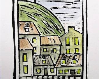 Le Mont Royal, Montreal,  Hand Watercolored Linocut Print by Richard Audet