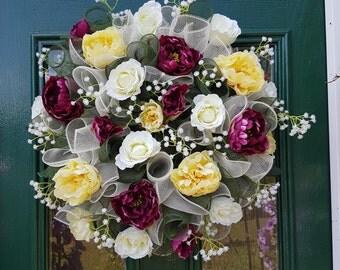 SUMMER ROSES & PEONIES,wreath,deco mesh,decoration,door decor
