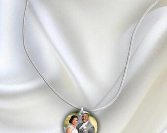 Custom Wedding Bride Photo Charm Necklace