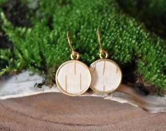 Dainty Birch Bark Earrings