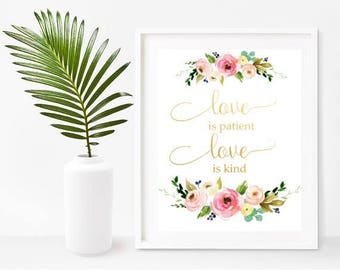 Love Is Patient Love Is Kind,  Bible Verse Printable, Wedding Gift, Anniversary Gift, Christian Wall Art,  Home Decor, Wall Decor