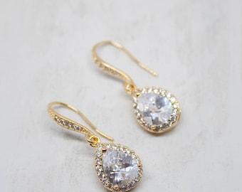 Yellow gold wedding jewellery earrings Bridal jewelry earrings
