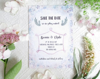 "Save the Date card ""Pastel Violet"", modern, simple, colorful, boho, bohemian Wedding stationery / paper or digital"